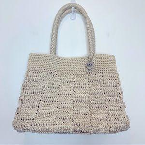 The Sak Nylon Knit Woven Medium Tote Purse Beige